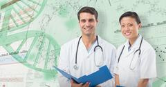 3D Composite image of portrait of smiling doctors with medical report Stock Photos