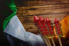 Composite image of 3D rockets for fireworks Stock Illustration