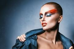 Woman with fashion make-up Stock Photos