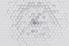 White geometric hexagonal abstract background. 3d rendering Stock Illustration