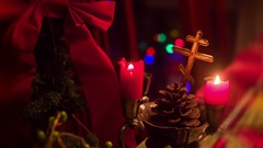 Russian orthodox sepenedeum cross christmas Stock Footage