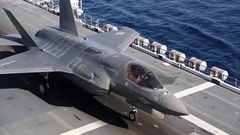 F35 Lightning fighter jet Carrier Proof of Concept Demonstration Stock Footage