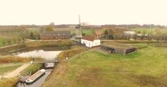 Dutch watermill, Aerial footage Stock Footage
