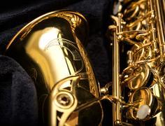 Saxophone detail close-up. Stock Photos