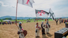 Crusaders with flags in their hands Stock Footage