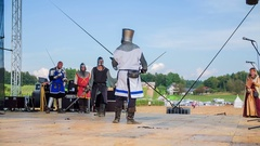 Crusader is stronger than the knight and he takes a bow Stock Footage