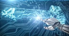 Composite image of silver robot 3D arm pointing at something Stock Illustration