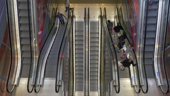 Escalator in a mall Stock Footage