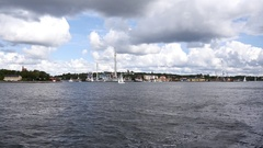 Stockholm shoreside view on Gröna Lund Stock Footage