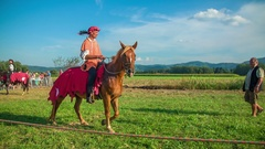 Walking with a horse Stock Footage