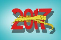 Composite image of 3D digitally generated new year with tape measure Stock Illustration
