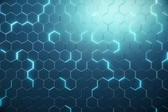Abstract blue of futuristic surface hexagon pattern with light rays. 3D Stock Illustration