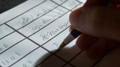 Voter registration register name writing write Stock Footage