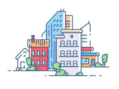 City color apartment house Stock Illustration