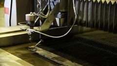 Waterjet cutting steel Stock Footage