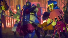 A big fight between the knights Stock Footage
