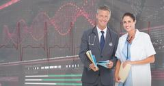 3D Composite image of portrait of male and female doctors with medical reports Stock Photos
