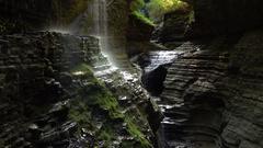 Watkins Glen State Park Water Drops Stock Footage