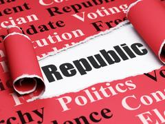 Politics concept: black text Republic under the piece of  torn paper Stock Illustration