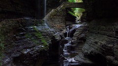 Watkins Glen State Park Rainbow Falls Stock Footage