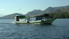 4k Indonesia island tourism boat on tour in the Flores Sea Stock Footage