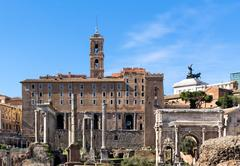 Roman forum ancient ruins in rome Stock Photos