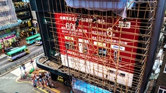 HONG KONG - Timelapse of people dismantling bamboo scaffolding. 4K resolution Stock Footage