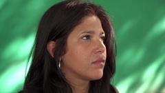 People Emotions Sad Worried Depressed Latina Woman Stock Footage