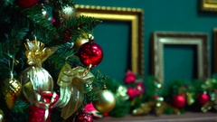 New year. Christmas. Tree. Fancy a Christmas tree with toys. Stock Footage