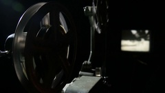 4k, old 16 mm film projector, contrast lighting 4 Stock Footage