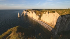 Natural Cliffs in Etretat, Normandy, France, EU, Europe Stock Footage