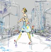 Woman And City Life Stock Illustration