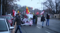 March of radical extremists, suppression of democracy, against refugees, EU Stock Footage