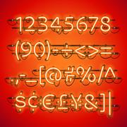 Glowing Neon Red Numbers Piirros