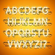Glowing Neon Honey Yellow Alphabet Stock Illustration