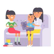 Family on couch vector Stock Illustration