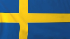 Flag of Sweden waving in the wind, seemless loop animation Stock Footage