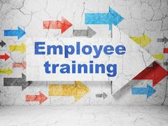 Education concept: arrow with Employee Training on grunge wall background Stock Illustration