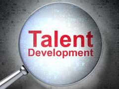 Learning concept: Talent Development with optical glass Stock Illustration