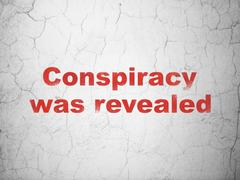Political concept: Conspiracy Was Revealed on wall background Stock Illustration