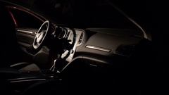 Interior view of car with black salon, speedometer and steering wheel. 1920x1080 Stock Footage