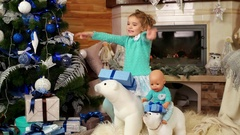 Baby dancing and having fun during Christmas night  Stock Footage