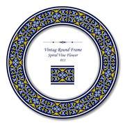 Vintage Round Frame of Retro Blue Spiral Cross Vine Flower Stock Illustration