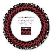 Vintage Round Frame of Crimson Spiral Curve Cross Stock Illustration