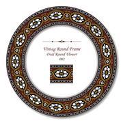 Vintage Round Frame of Brown Oval Round Flower Stock Illustration