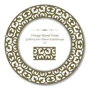 Vintage Round Retro Frame of Golden Curve Flower Kaleidoscope Stock Illustration
