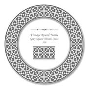 Vintage Round Retro Frame of Grey Square Mosaic Cross Stock Illustration