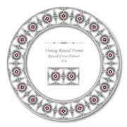 Vintage Round Retro Frame of Gray Round Triangle Cross Red Flower Stock Illustration