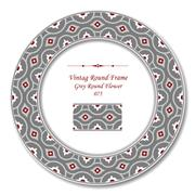 Vintage Round Retro Frame of Grey Round Cross Red Flower Stock Illustration