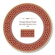 Vintage Round Retro Frame of Rectangle Geometry Line Stock Illustration